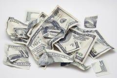Dinero rasgado Fotografía de archivo