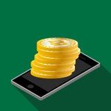 Dinero real del símbolo de la moneda de la muestra de Bitcoin Fotografía de archivo libre de regalías