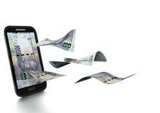 dinero rendido 3D del rand sudafricano inclinado y aislado en el fondo blanco Foto de archivo