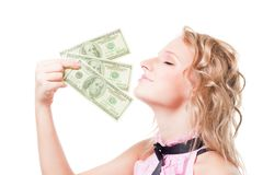 Dinero rubio hermoso del olor de la mujer fotografía de archivo