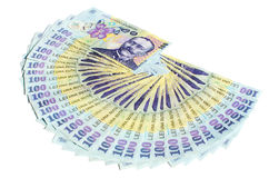 Dinero rumano aislado Fotos de archivo libres de regalías