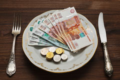 Dinero ruso en la placa del vintage Imagen de archivo libre de regalías