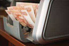 Dinero ruso en máquina sumadora Fotografía de archivo libre de regalías