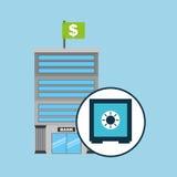 Dinero seguro de la caja del servicio del concepto del banco Imágenes de archivo libres de regalías