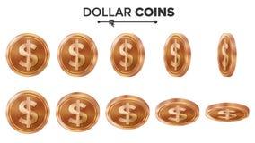 Dinero Sistema del vector de las monedas de cobre del dólar 3D Ilustración realista Flip Different Angles Dinero Front Side inver Imagen de archivo