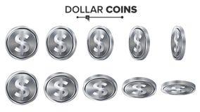 Dinero Sistema del vector de las monedas de plata del dólar 3D Ilustración realista Flip Different Angles Dinero Front Side inver Imagen de archivo