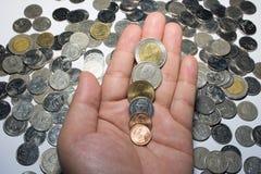 Dinero tailandés de las monedas fotografía de archivo