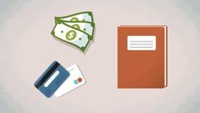 Dinero, tarjetas de crédito y cuaderno en una tabla Vector Los artículos planos del estilo de la visión superior para la historie Imagenes de archivo