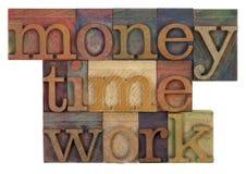 Dinero, tiempo y trabajo Imagen de archivo libre de regalías