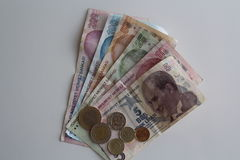 Dinero turco Imágenes de archivo libres de regalías