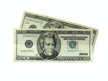 Dinero - veinte dólares de cuentas Fotos de archivo