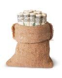 Dinero vertical en el bolso Foto de archivo libre de regalías
