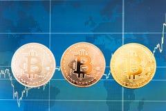 Dinero virtual de las finanzas de la moneda de la moneda de Bitcoin del negocio imagen de archivo