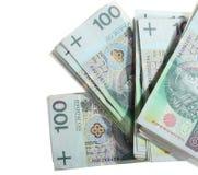 Dinero y ahorros Pila de banco del zloty del pulimento 100s Imágenes de archivo libres de regalías