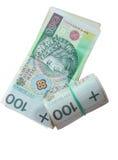 Dinero y ahorros. Pila de billetes de banco del zloty del pulimento 100's Imagenes de archivo