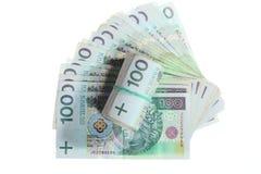 Dinero y ahorros. Pila de billetes de banco del zloty del pulimento 100's Imágenes de archivo libres de regalías