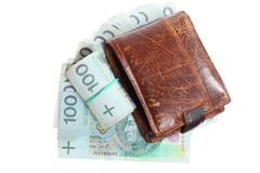 Dinero y ahorros. Pila de billetes de banco del zloty del pulimento 100's Fotografía de archivo libre de regalías