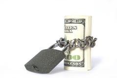 Dinero y bloqueo Imagenes de archivo