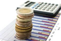 Dinero y calculadora en diagrama Imagen de archivo