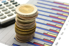Dinero y calculadora en diagrama Fotos de archivo