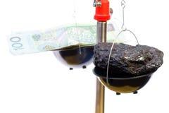 Dinero y carbón Foto de archivo libre de regalías