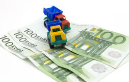 Dinero y coche Fotografía de archivo libre de regalías