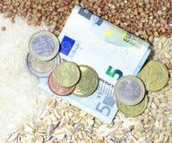 Dinero y gachas de avena, cereales alforfón, arroz, harina de avena, trigo Imagen de archivo libre de regalías