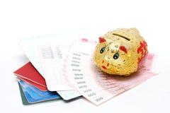 dinero y libreta de banco Fotografía de archivo libre de regalías