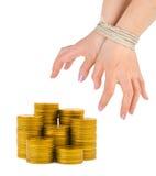 Dinero y manos encuadernadas Imagen de archivo libre de regalías