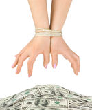 Dinero y manos encuadernadas Fotos de archivo