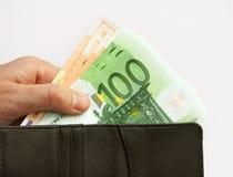 Dinero y monedero euro Imagen de archivo libre de regalías