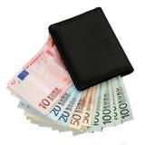 Dinero y monedero euro Fotografía de archivo