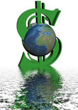 Dinero y mundo. stock de ilustración