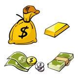 Dinero y oro Imagen de archivo