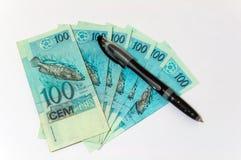 Dinero y pluma Imagen de archivo