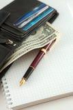 Dinero y pluma Imagen de archivo libre de regalías