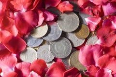 Dinero y rosas Fotografía de archivo