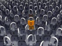 Dinero y seguridad de dinero en circulación - candado bloqueado