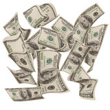 Dineros que caen $100 cuentas Imagen de archivo