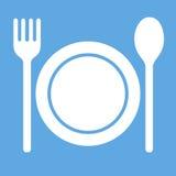 Dinerpictogram Plaat, vork en lepel Vector Teken Stock Afbeelding