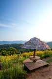 Dinerplaats en aardige mening over de berg Stock Foto's