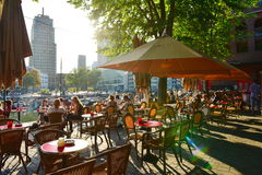 Diners enjoying alfresco dining at Wijnhaven, Rotterdam Stock Photography