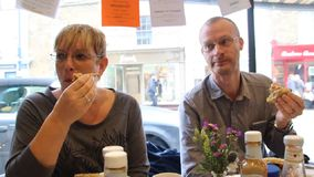 Diners at lunch stock video footage