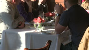 Diners at restaurant (1 of 3) stock footage