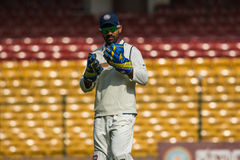Dinesh Karthik cricketer. Cricketer dinesh karthik looks at his gloves during the ongoing irani cup game in bengaluru stock photography