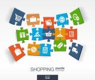 与被连接的颜色的抽象购物背景困惑,集成了平的象 3d与商店,金钱的infographic概念 免版税库存照片