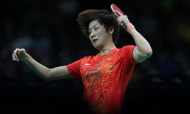 Ding Ning table tennis champion at the Olympic Games in Rio 2016. Ding Ning from China table tennis champion at the Olympic Games in Rio 2016 Stock Photo
