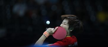 Ding Ning table tennis champion at the Olympic Games in Rio 2016. Ding Ning from China table tennis champion at the Olympic Games in Rio 2016 Stock Photography