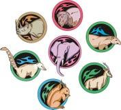 Dingbats redondos com animais Imagens de Stock Royalty Free