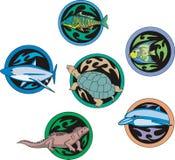Dingbats redondos com peixes e répteis Fotografia de Stock